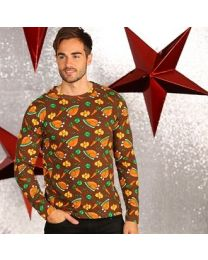 Kerst T-shirt Unisex, gebraden kalkoen